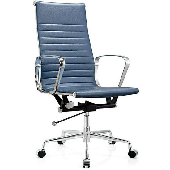 Modern High Back Blue Leather Office Chair Executive Chairs