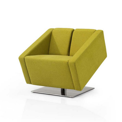 Modern Fabric Lounge Sofa Stainless Steel Base Yellow Small Single Office